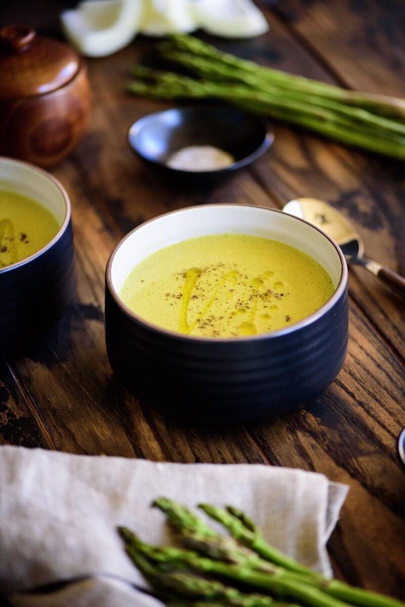 black truffled cream of asparagus soup