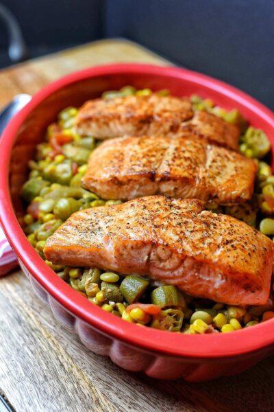 Pan Seared Salmon with Succotash