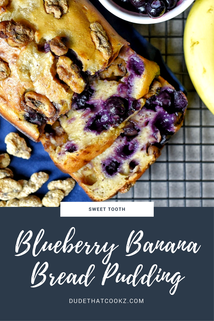 If you're a person who loves breading pudding and loves the taste of banana bread this blueberry banana bread pudding is the best of both worlds. #bananabread #recipes #breadpudding #blueberries #bananas