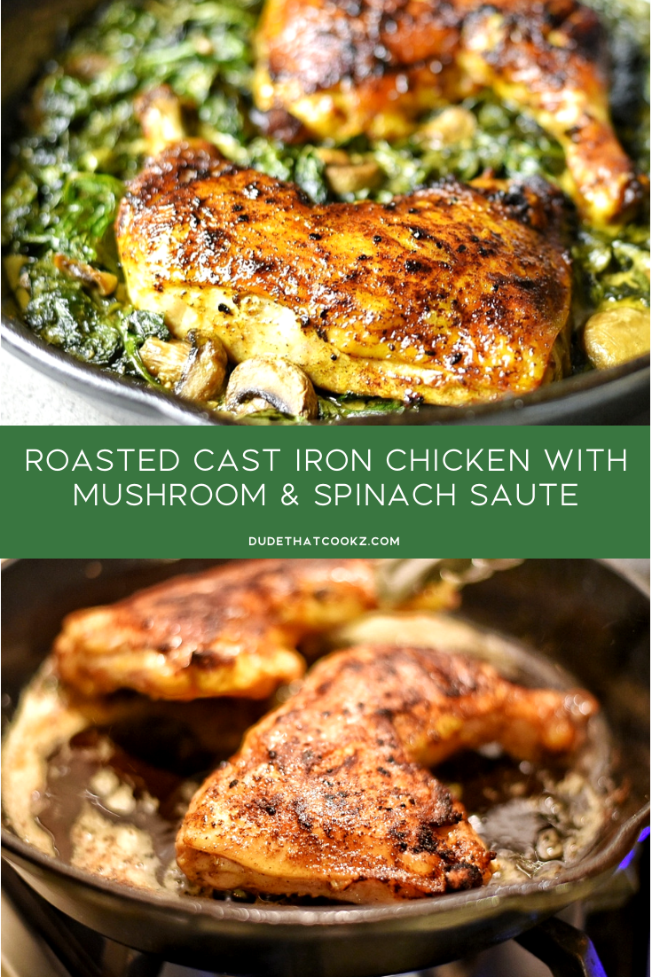 When you're looking for a healthy low-carb meal with flavor this cast iron chicken can take you there. Combining the texture and moisture from the chicken quarters along with the great flavors from the spinach will have you feeling a lot less guilty for eating something that taste this great. #chicken #lowcarb #healthyrecipes #castiron #keto #ketorecipes #roastedchicken #bakedchicken #chicken #lowcarb #onepanmeals #easydinner #dinnerrecipes #30minutedinners #castironchicken