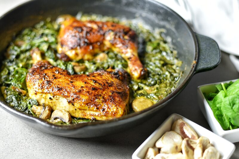 Roasted Cast Iron Chicken with Mushroom and Spinach Saute