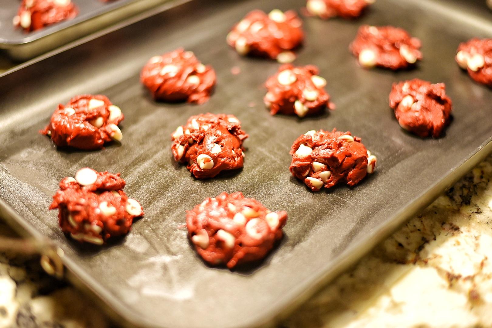 Red Velvet White Chocolate Chip Cake Cookies