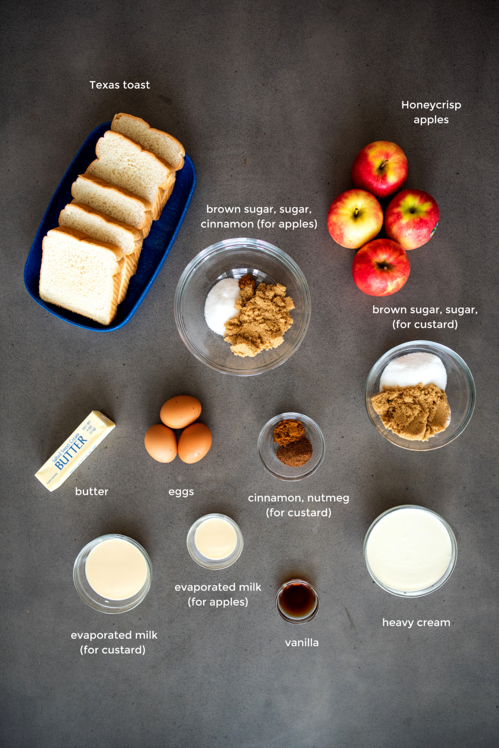 french toast and caramelized apples ingredients