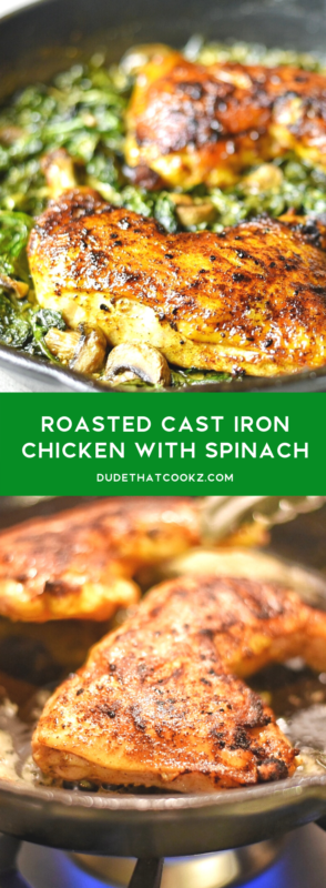roasted cast iron chicken with spinach