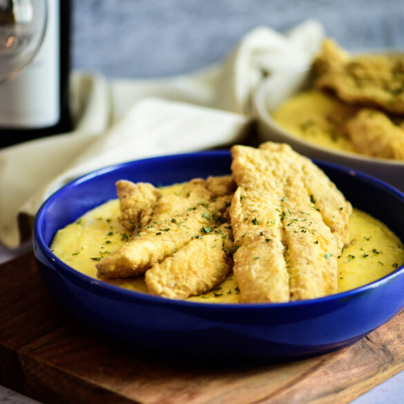 Cajun fried orange roughy with cheese grits
