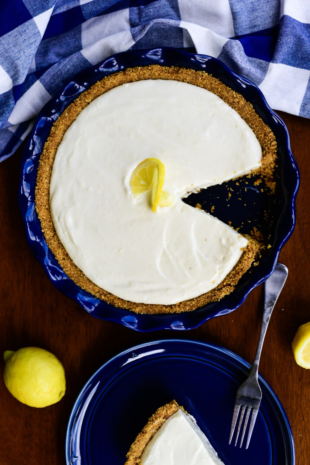 Lemon pie with slice removed