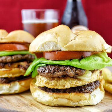 Double Stack Burger With Fried Cheese