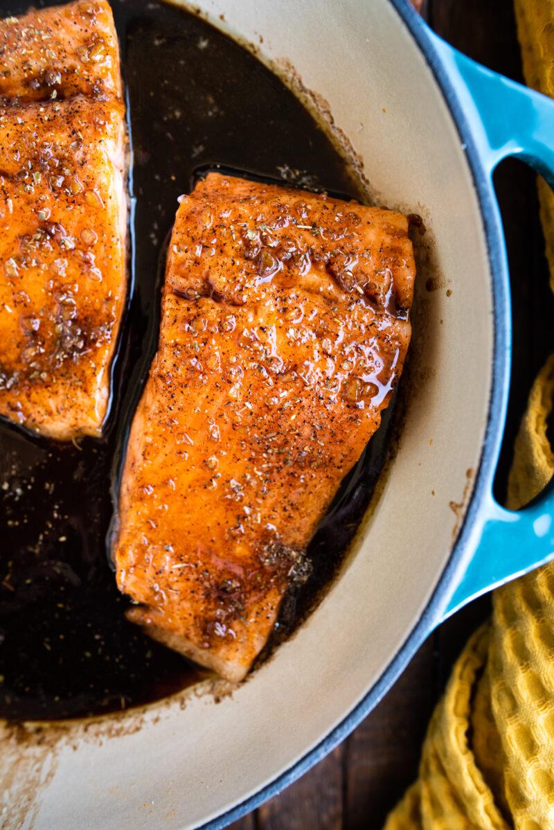 single piece of glazed steelhead trout