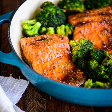 honey balsamic steelhead trout with roasted broccoli
