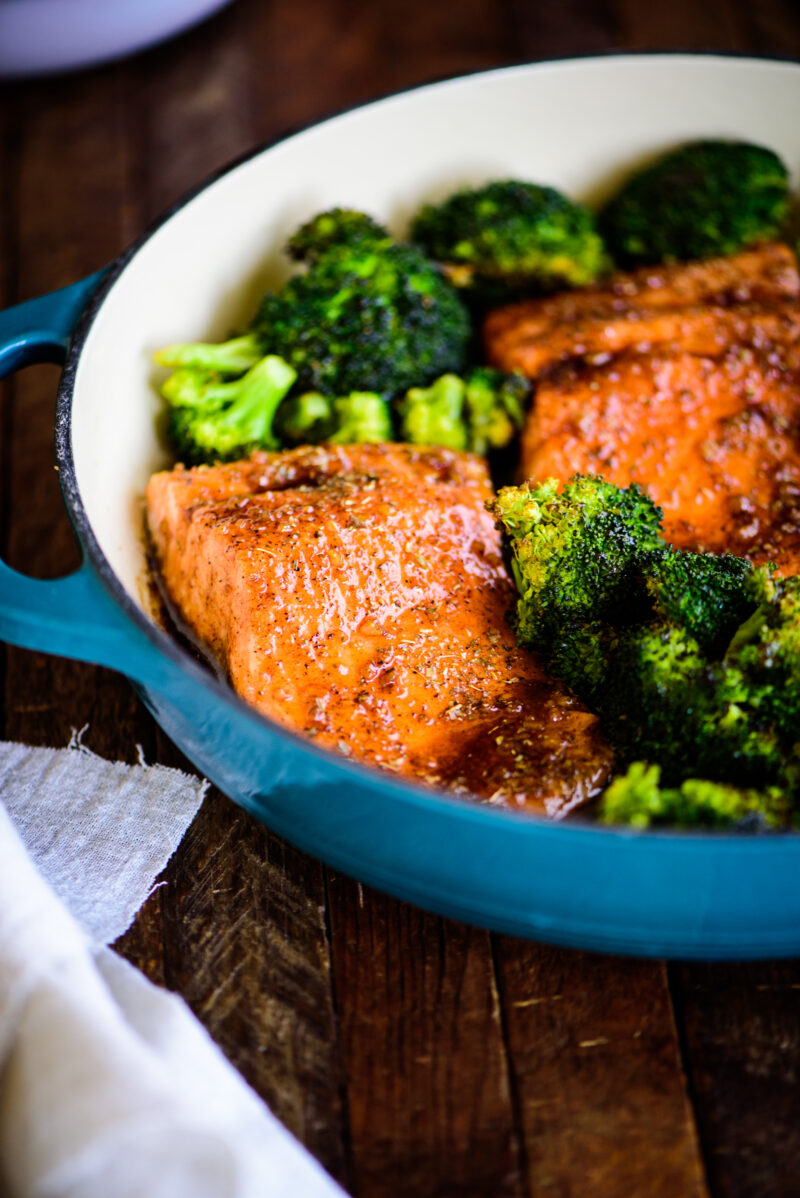 honey balsamic steelhead trout with roasted broccoli