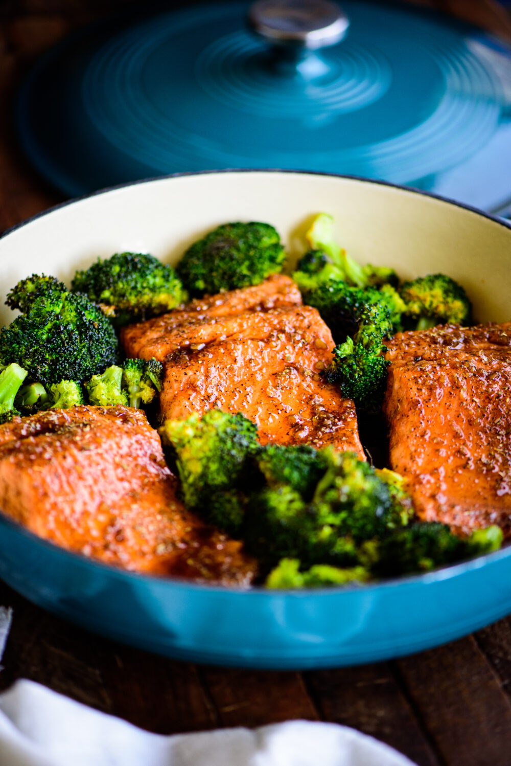 trout served with broccoli