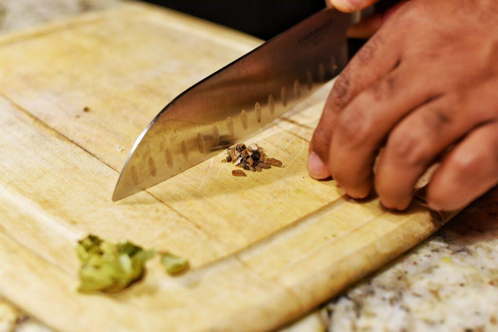 Chopping the cardamon