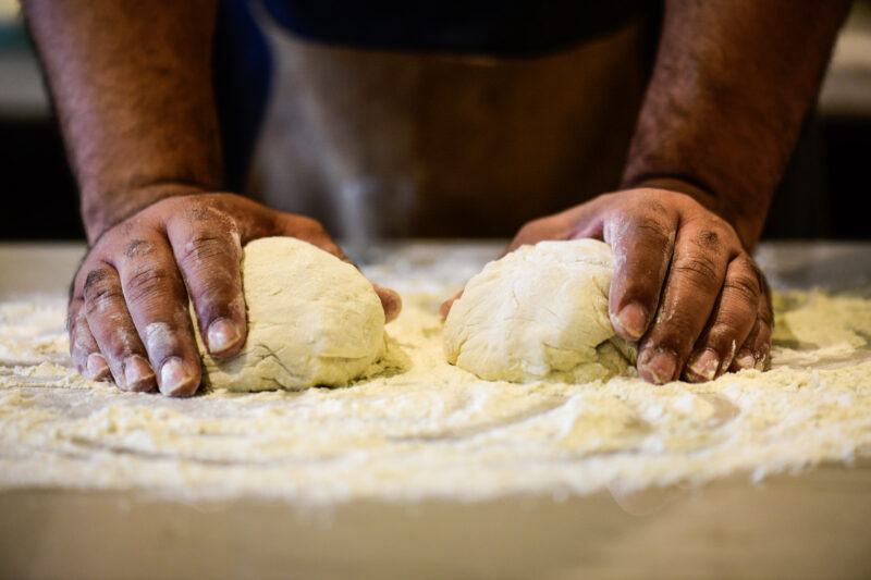 Forming the dough for the calzone pizza