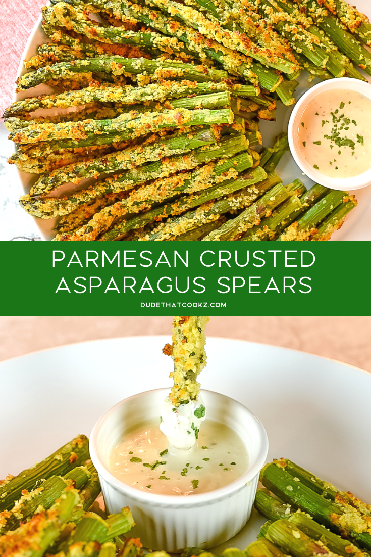 Baked Parmesan Crusted Asparagus Spears covered in the flavors you get from the Parmesan cheese and crunchy texture from the panko breadcrumbs can not only make dinner time interesting, but it can actually be a great game day snack as well. #asparagus #baked #springvegetables #vegetables #parmesan #parmesancrusted #veggies #asparagusspears #lowcarb #lowcarbrecipes