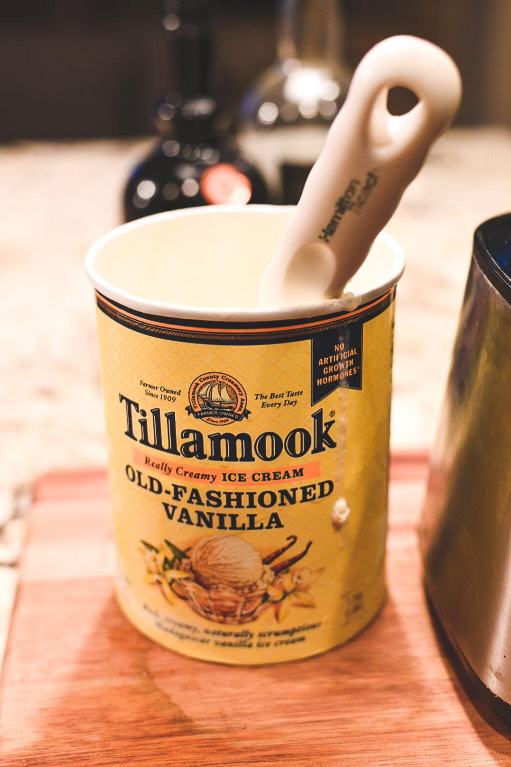 Tillamook Old Fashioned Vanilla Ice Cream for Biscoff & Cream Boozy Milkshake