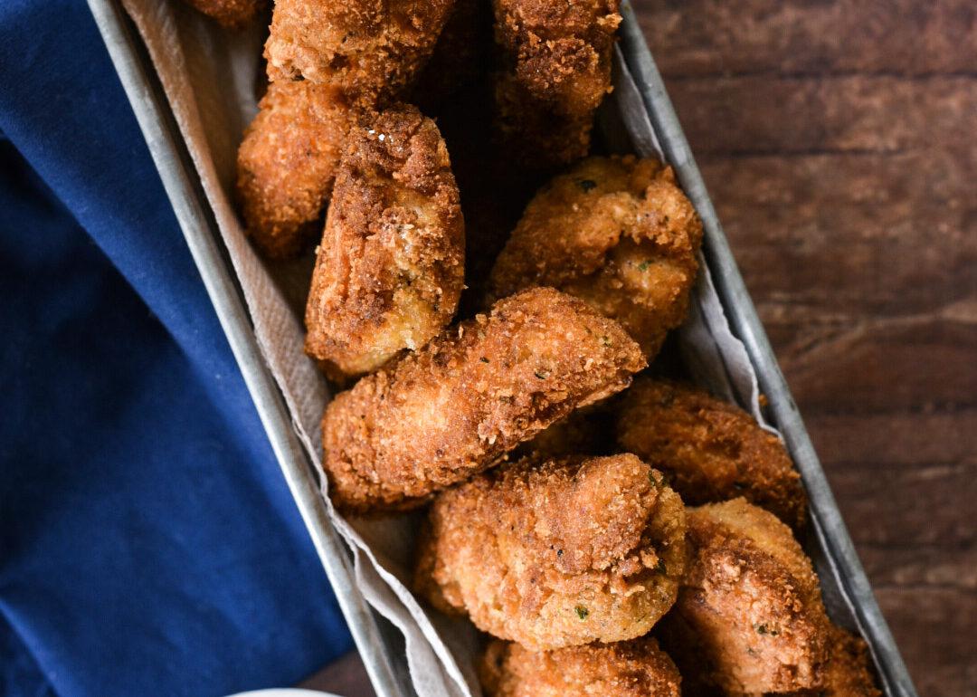 Overhead shot of Crispy Fried Red Snapper Fish Sticks