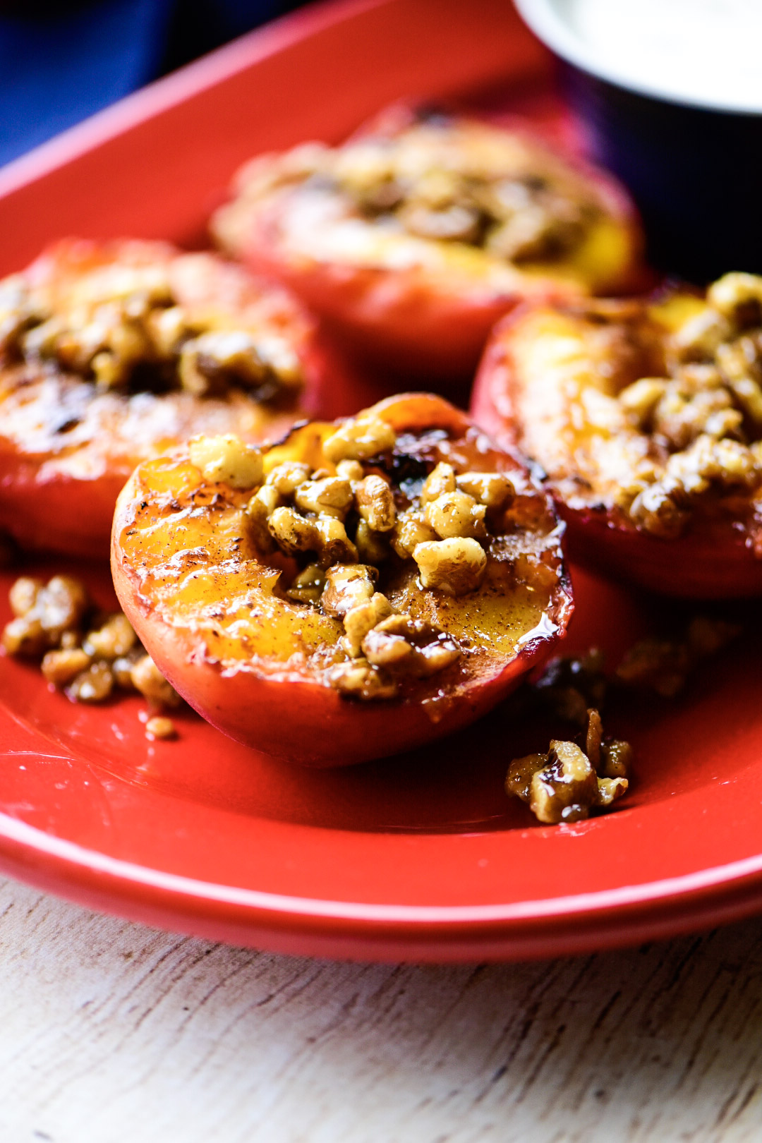 grilled peaches with candied walnuts