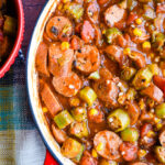 Stewed Okra with Roasted Chicken Sausage