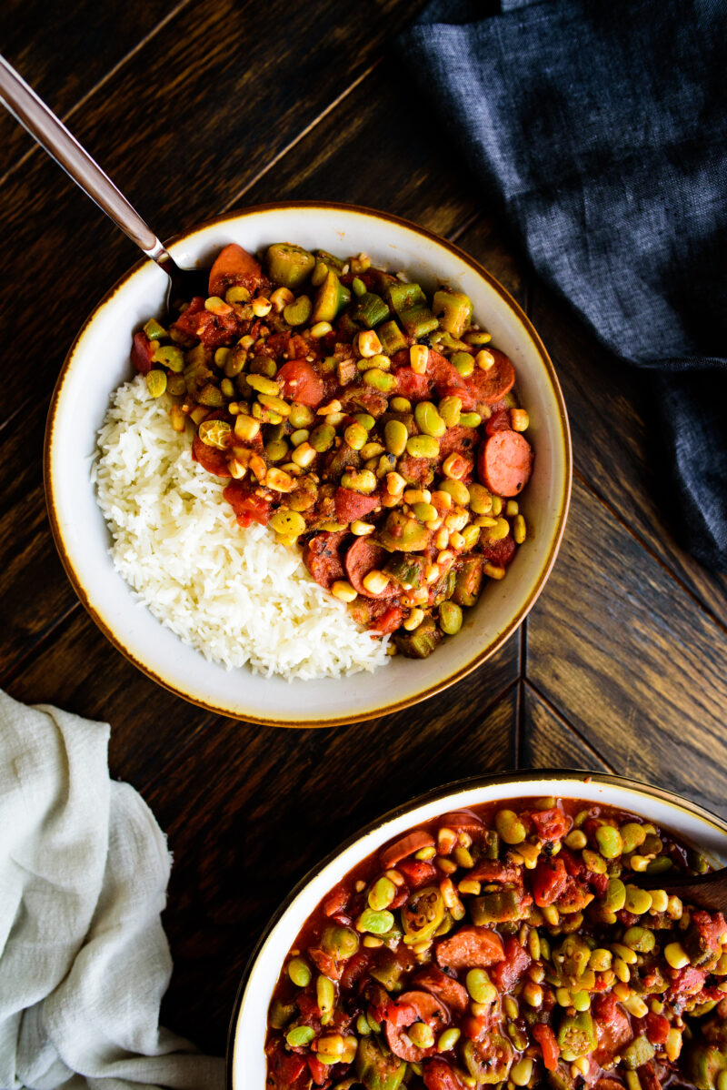 single serving of stewed okra and tomatoes with rice
