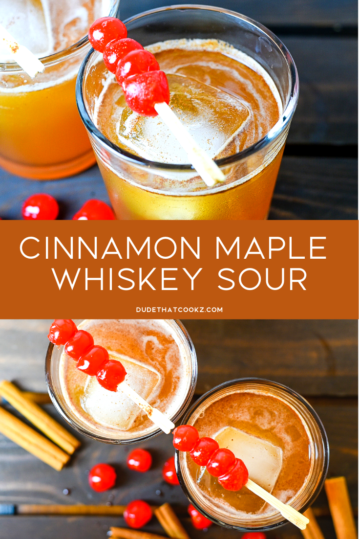 When you want to try a great tasting whiskey sour with a different twist give this Cinnamon Maple Whiskey Sour a try. #cocktails #cocktailrecipe #holidaycocktail #whiskeysour #bourboncocktail #whiskeysourcocktail #whiskey #whiskeycocktail #drinkrecipe