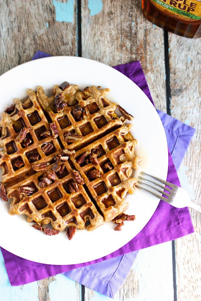 Sweet Potato Waffles with Candied Pecans by A Nerd Cooks