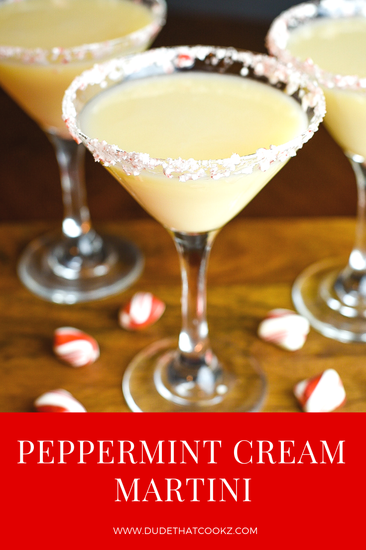 This Peppermint Cream Martini is pretty simple mix of peppermint schnapps, white cream liqueur and vanilla flavored vodka. Perfect for the holiday season! #holidaycocktails #cocktails #peppermintcocktails #cocktailrecipes #martini #martinirecipes