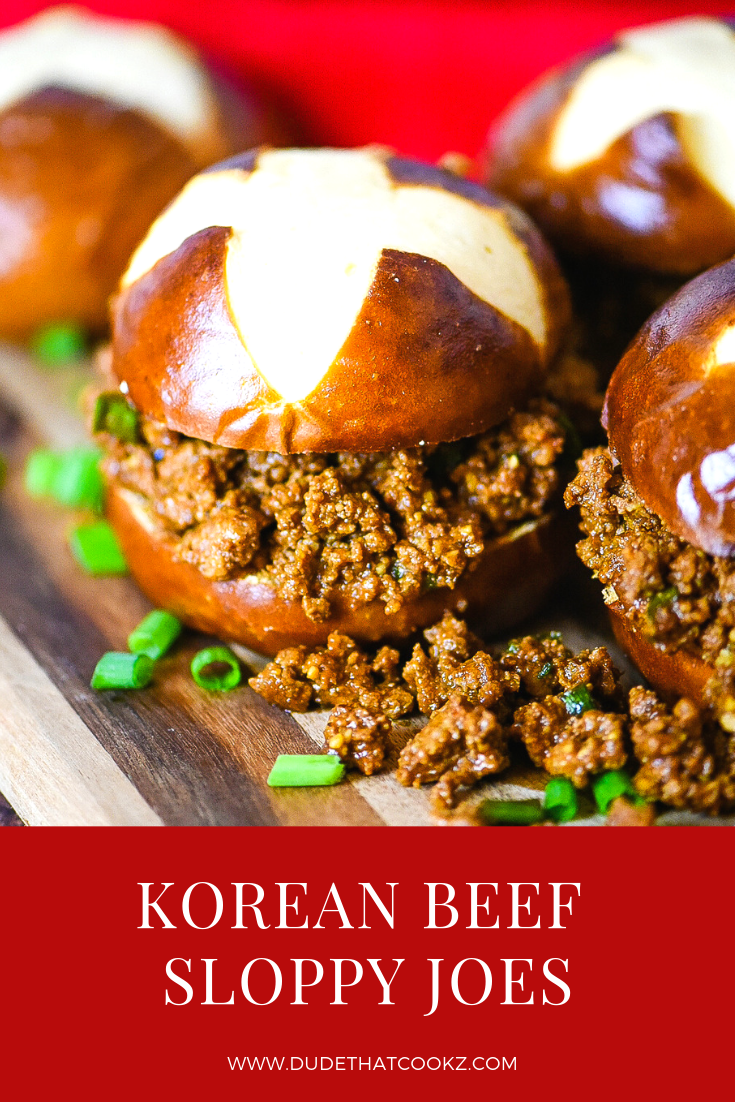 Korean cuisine is comprised of mostly spicy, savory, sour, simple, and satisfying dishes with flavors that makes creating my Korean Beef Sloppy Joe a lot of fun! #korean #asian #asianflavors #koreanflavors #sloppyjoe #sloppyjoes #manwich #sanwichrecipes #easylunchideas #easylunchrecipes #dinnerrecipes #pretzelbuns #koreansloppyjoes #beef #groundbeef