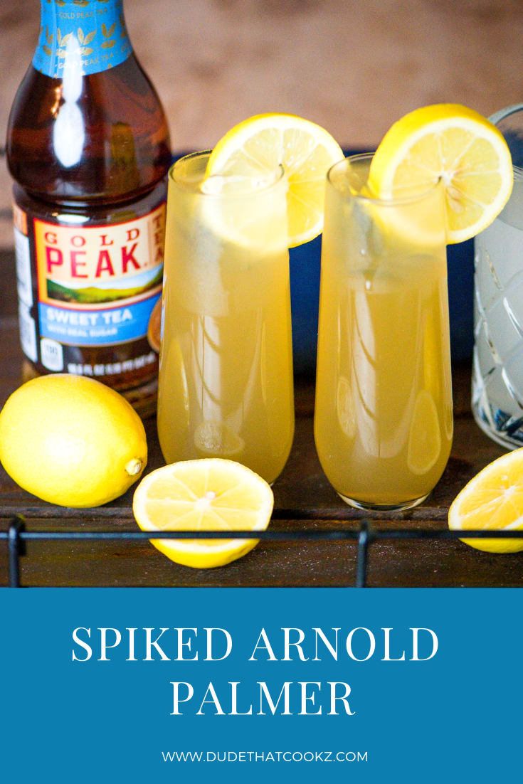 The Spiked Arnold Palmer (cocktail) is fairly simple to make. It's pretty much an even amount of lemonade to ice tea mixed with two ounces of vodka.   #arnoldpalmer #cocktails #drinks #summerdrinks #sweettea #lemonade #spikedarnoldpalmer #cocktail #easycocktailrecipes #vodka