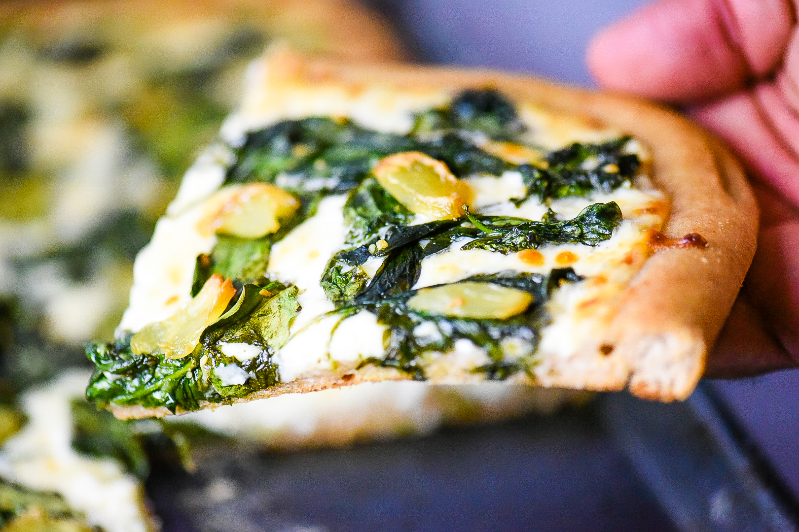 Roasted Garlic and Spinach Parmesan Pizza