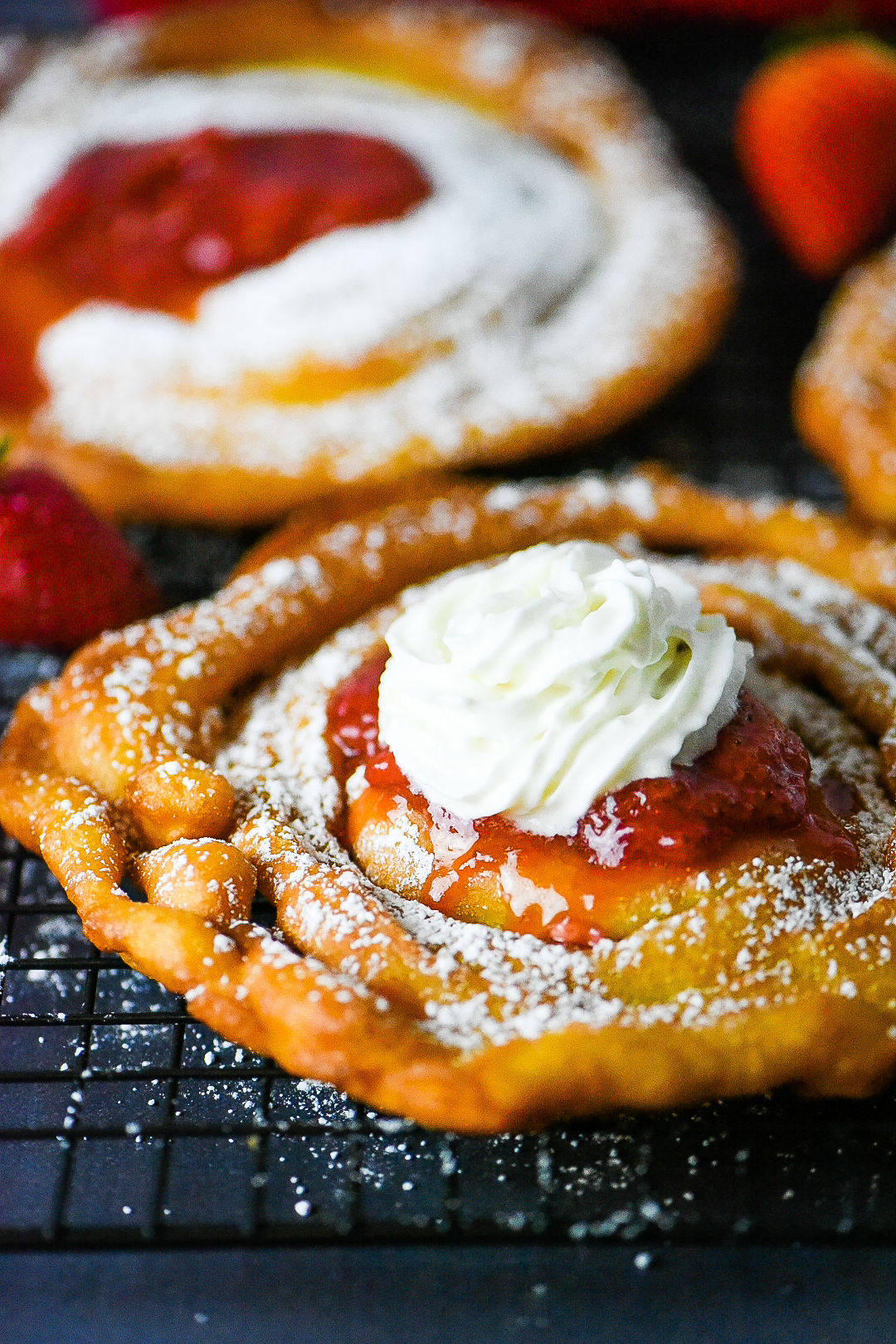 Funnel Cake with Homemade Strawberry Sauce