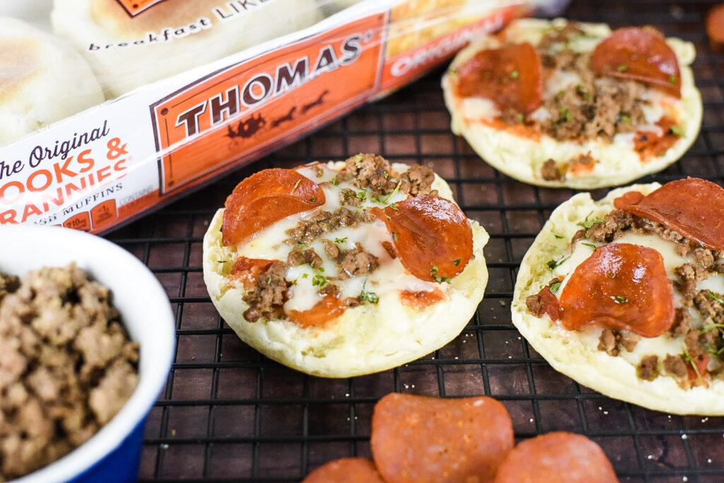 Turkey Pepperoni & Hamburger English Muffin Pizzas