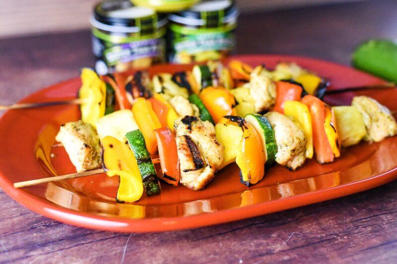 Grilled Chicken Vegetable Shish Kebabs