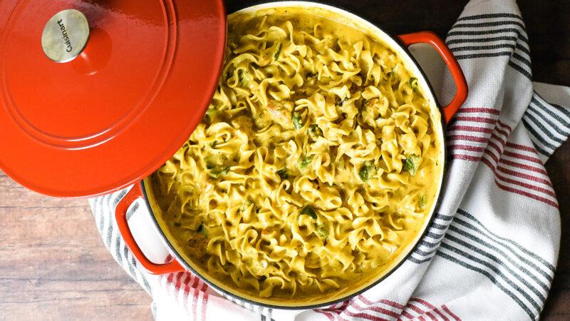 Creamy Chicken Roasted Poblano Pasta