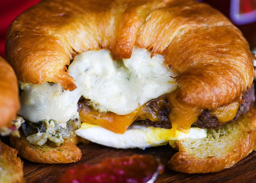 Breakfast Cheeseburger Croissant