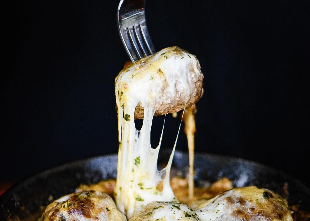 French Onion Gouda Stuffed Meatballs