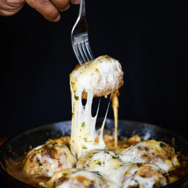 French Onion Gouda Stuffed Meatballs