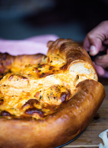 Buffalo Chicken Meatball Pizza