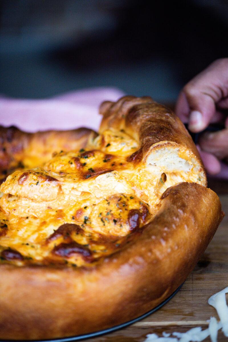 Buffalo Chicken Meatball Pizza