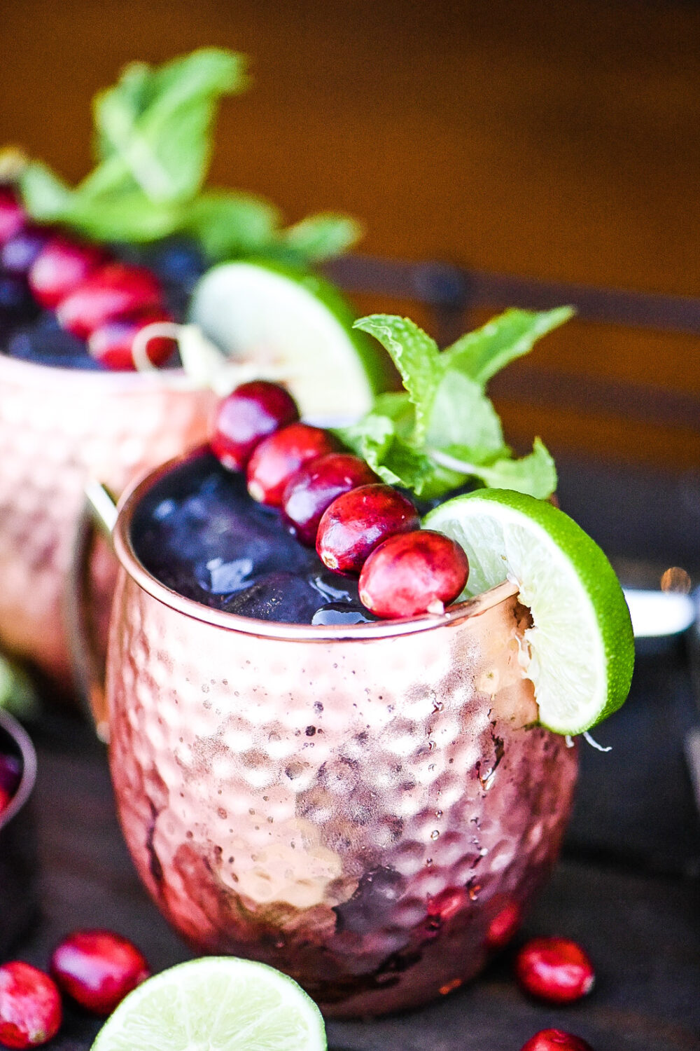 Cranberry moscow mule in a mule mug