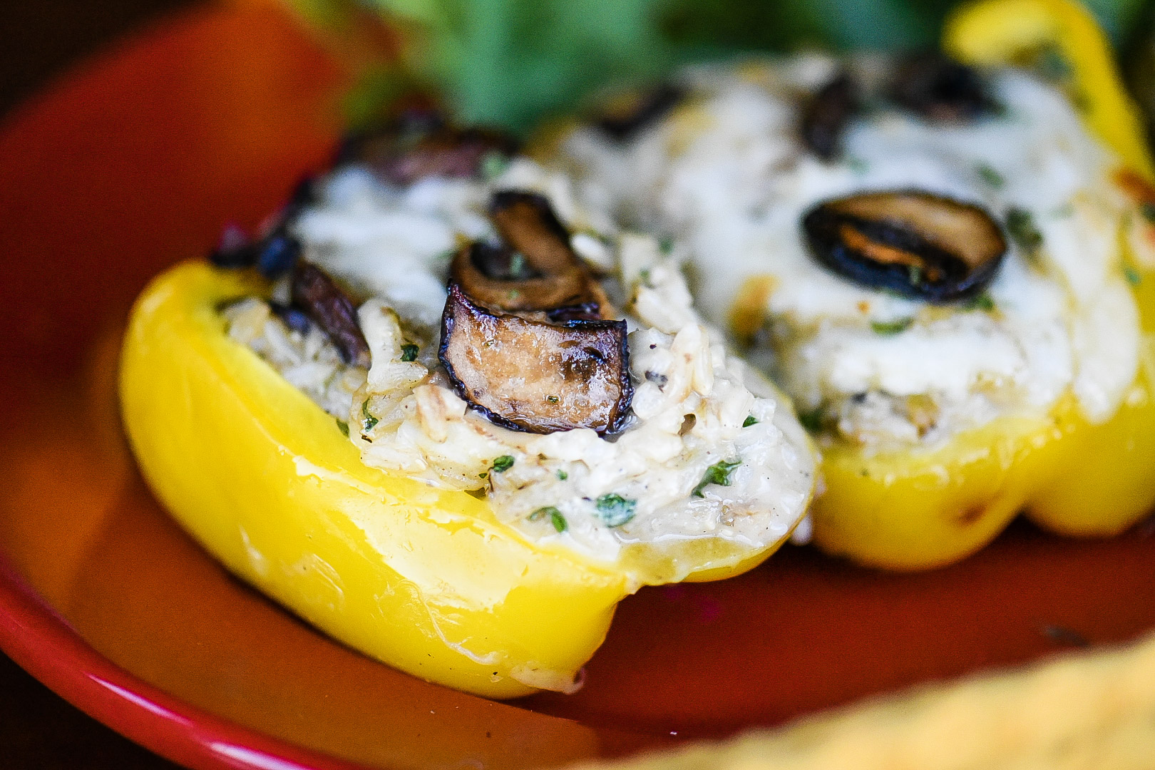 Creamy Rice and Mushroom Stuffed Bell Peppers