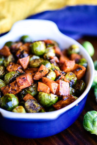close up of roasted sweet potatoes and Brussels sprouts