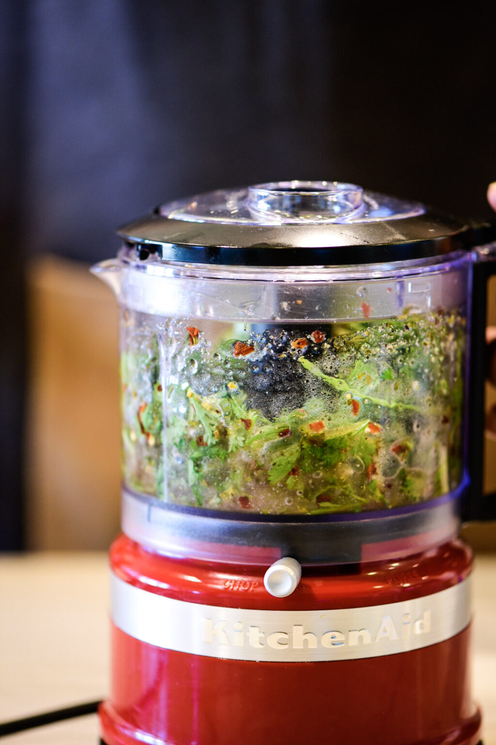 Making chimichurri in food processor