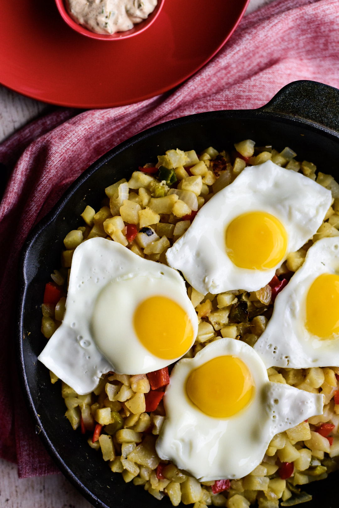 Overhead shot of Serving of Vegetable Breakfast Skillet without sauce