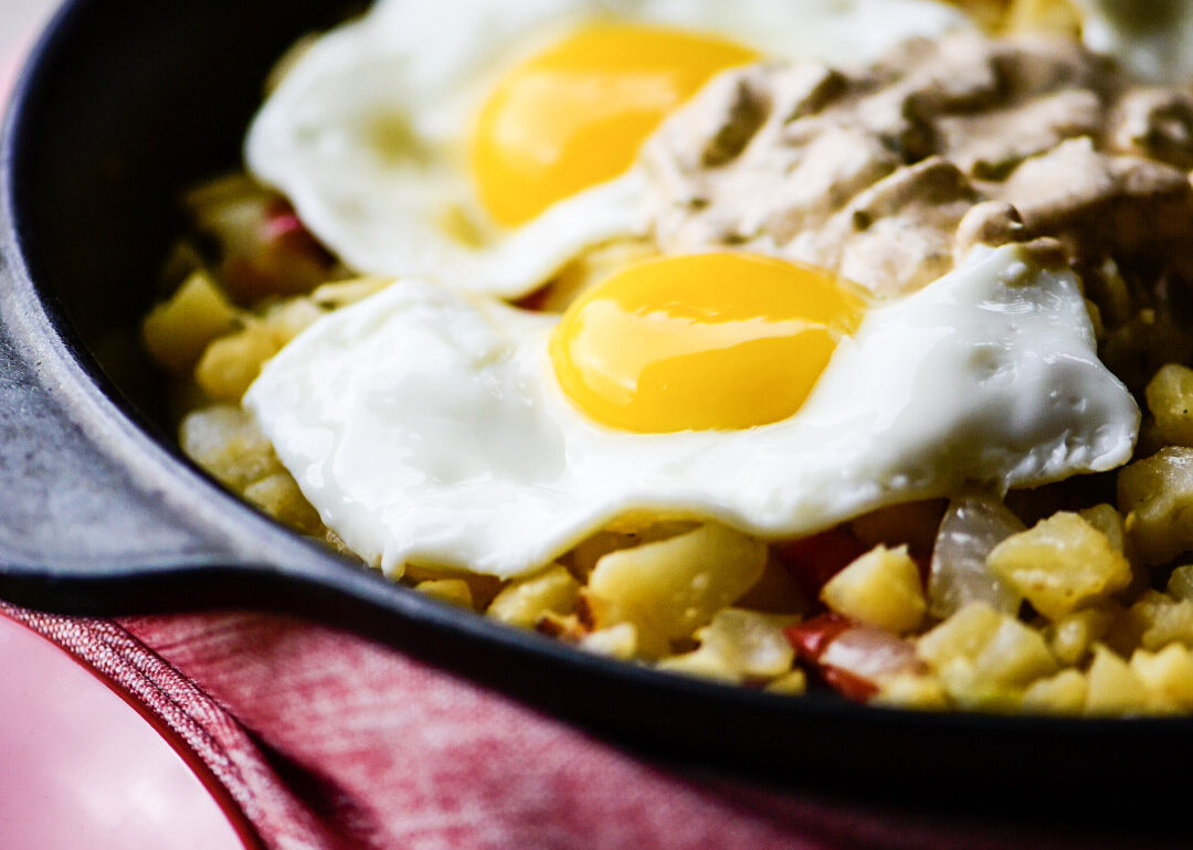 Vegetable Breakfast Skillet with Poblano Cream Sauce
