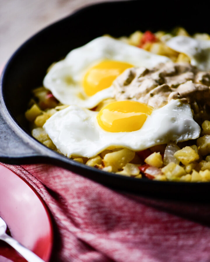 Vegetable Breakfast Skillet with Poblano Cream Sauce