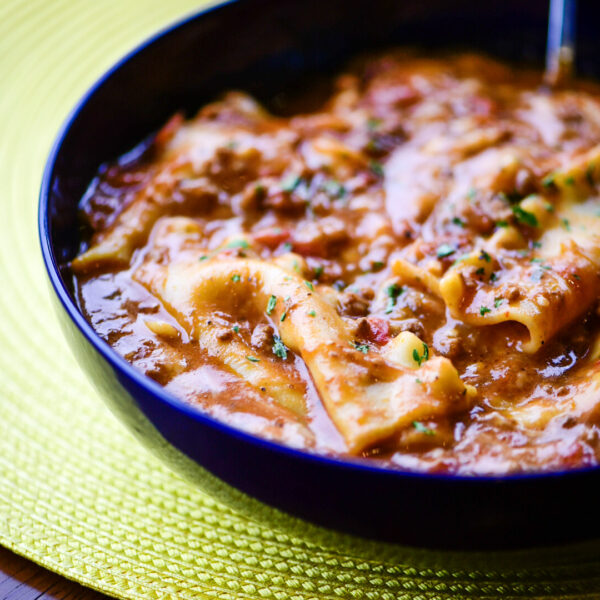 Bowl of truffled lasagna soup