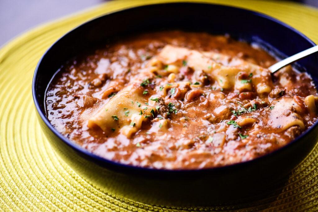 Bowl of truffled lasagna soup