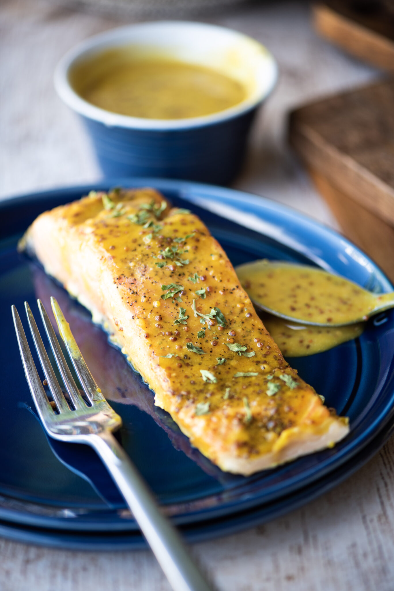 Single piece of honey-mustard salmon
