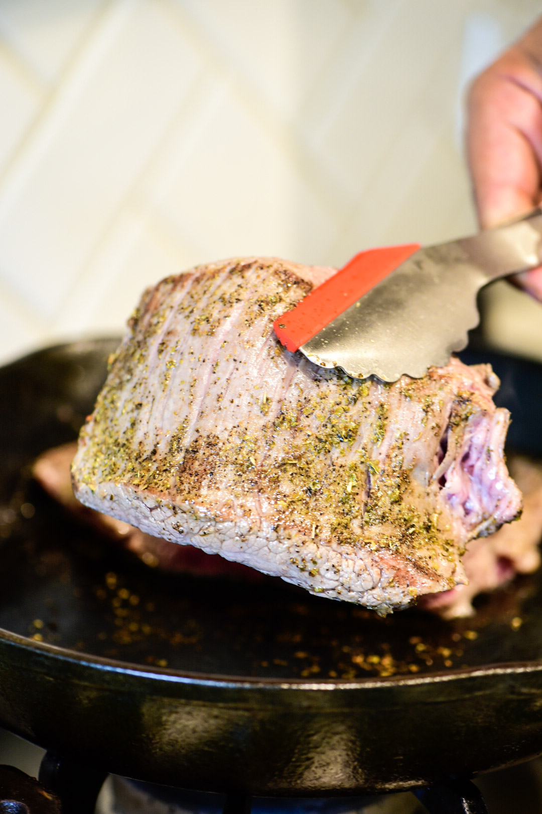 Searing flank steak in cast iron for Chopping herbs for beef ragu recipe