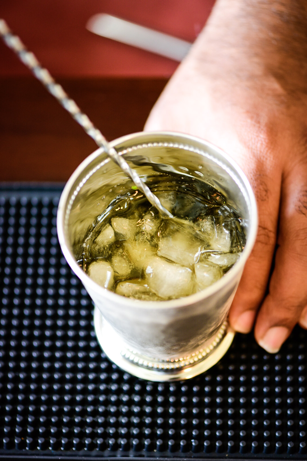 A look Inside the mint julep cup